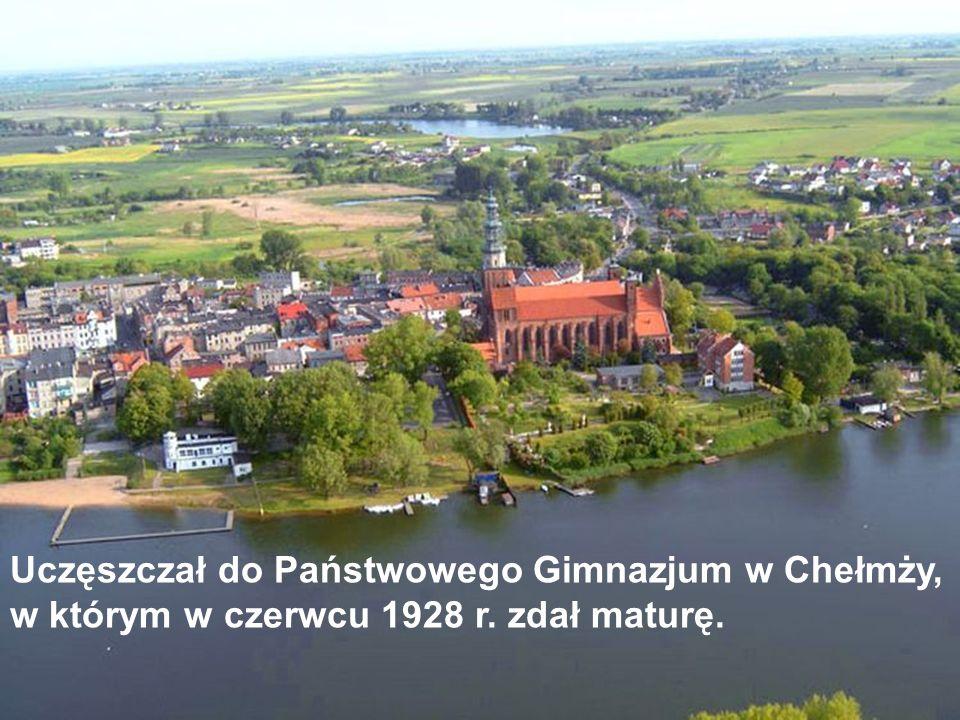 Uczęszczał do Państwowego Gimnazjum w Chełmży, w którym w czerwcu 1928 r. zdał maturę.