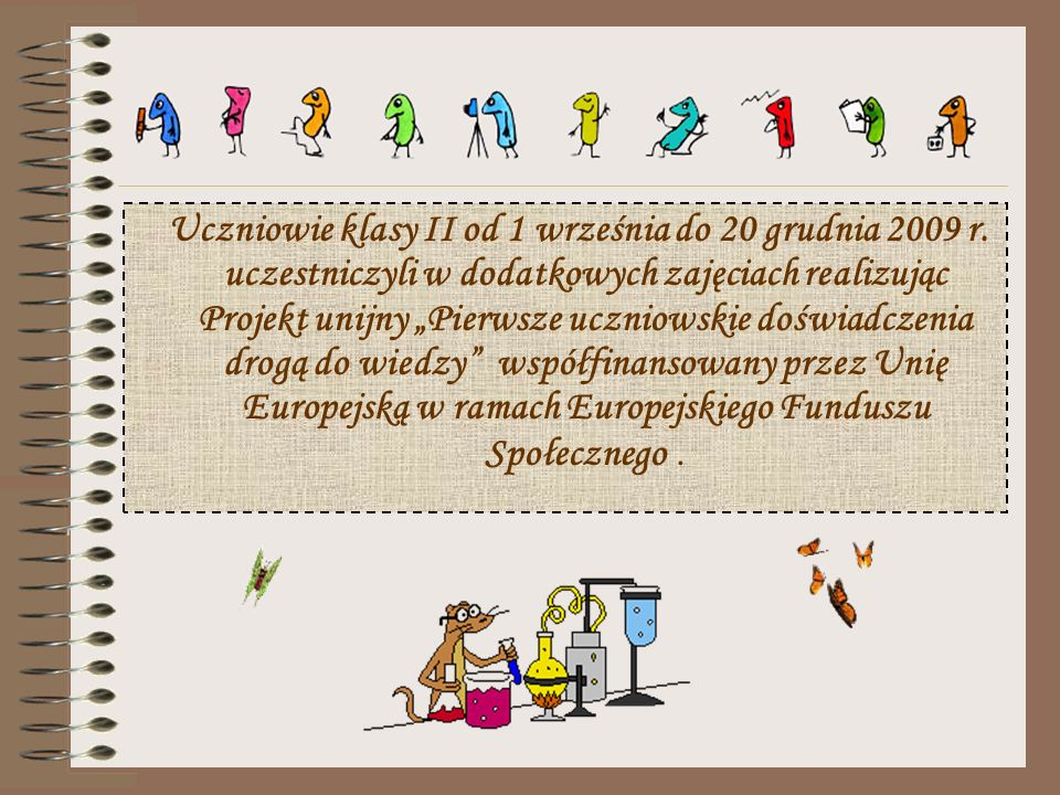 Uczniowie klasy II od 1 września do 20 grudnia 2009 r