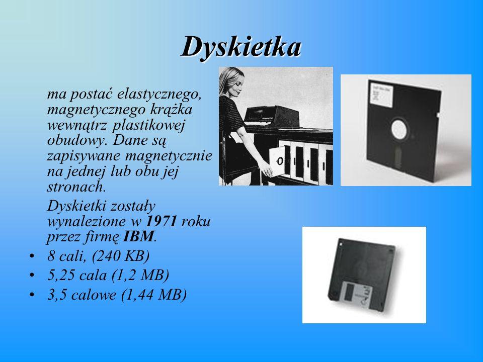 Dyskietka ma postać elastycznego, magnetycznego krążka wewnątrz plastikowej obudowy. Dane są zapisywane magnetycznie na jednej lub obu jej stronach.
