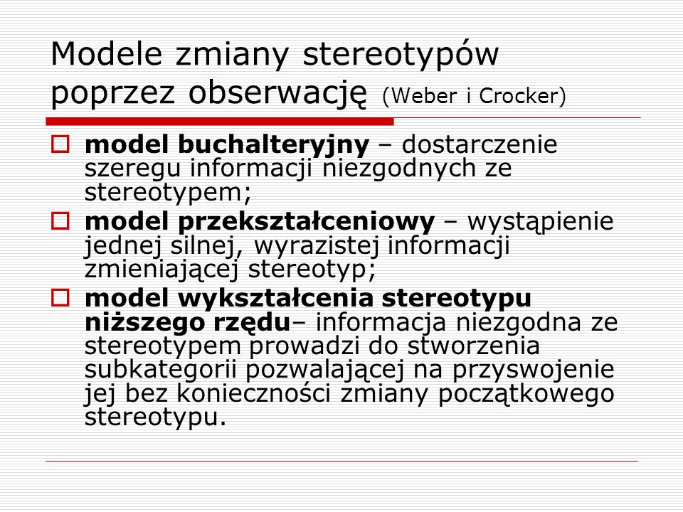 Modele zmiany stereotypów poprzez obserwację (Weber i Crocker)