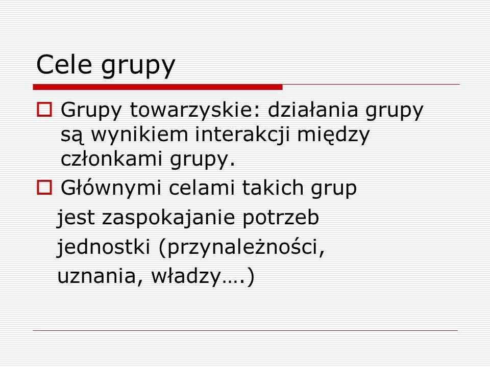 Cele grupy Grupy towarzyskie: działania grupy są wynikiem interakcji między członkami grupy. Głównymi celami takich grup.