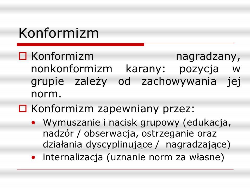 Konformizm Konformizm nagradzany, nonkonformizm karany: pozycja w grupie zależy od zachowywania jej norm.