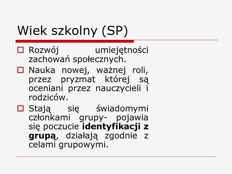 Wiek szkolny (SP) Rozwój umiejętności zachowań społecznych.