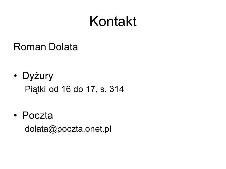 Kontakt Roman Dolata Dyżury Poczta Piątki od 16 do 17, s. 314