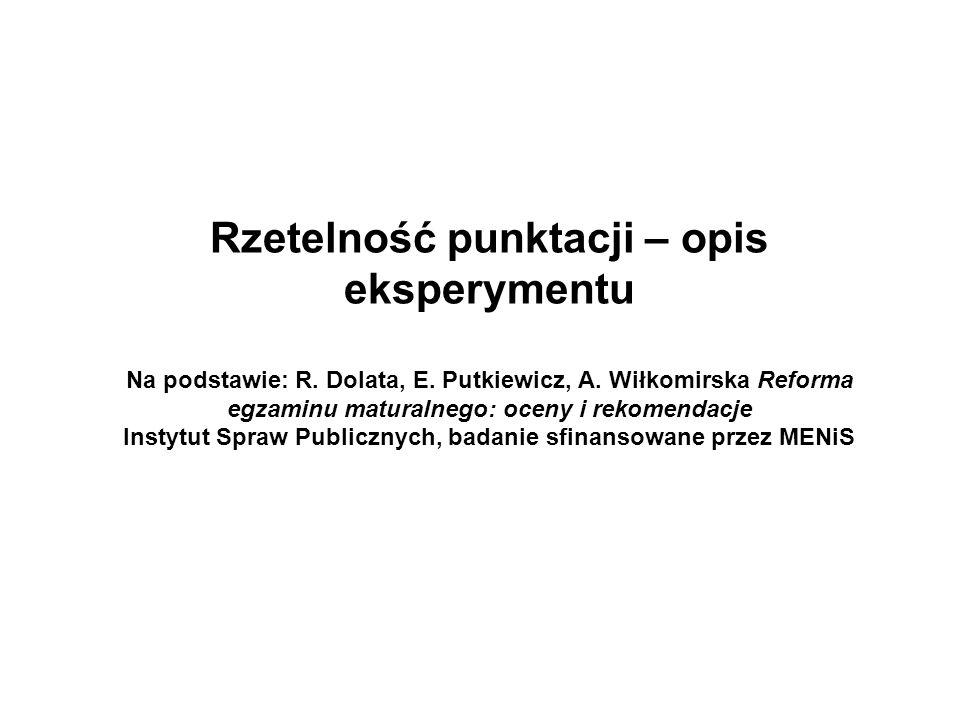 Rzetelność punktacji – opis eksperymentu Na podstawie: R. Dolata, E