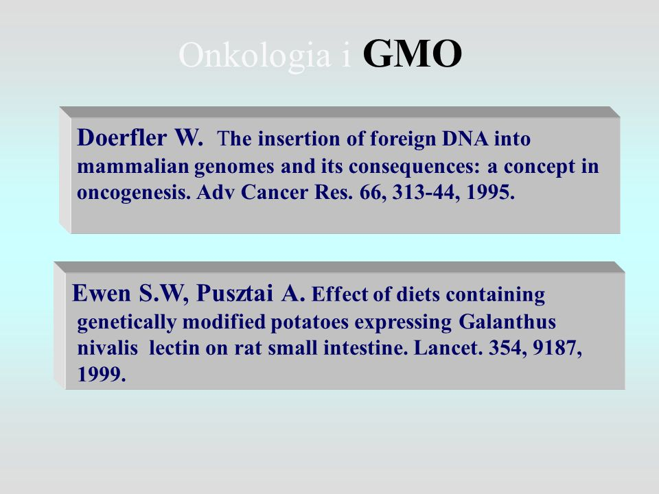 Onkologia i GMO Ewen S.W, Pusztai A. Effect of diets containing