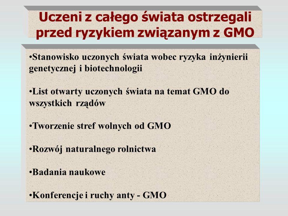 Uczeni z całego świata ostrzegali przed ryzykiem związanym z GMO