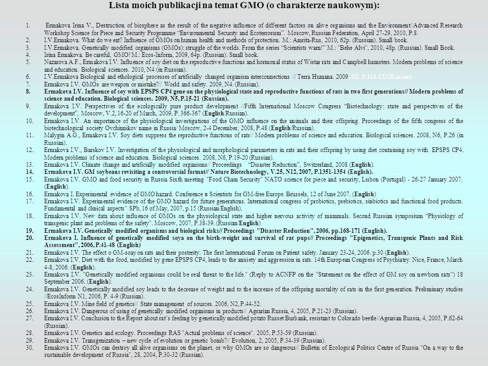 Lista moich publikacji na temat GMO (o charakterze naukowym):