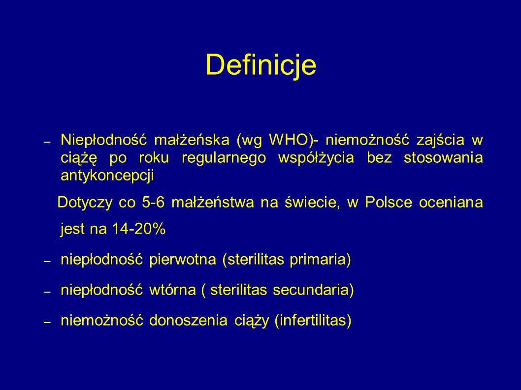 Definicje Niepłodność małżeńska (wg WHO)- niemożność zajścia w ciążę po roku regularnego współżycia bez stosowania antykoncepcji.
