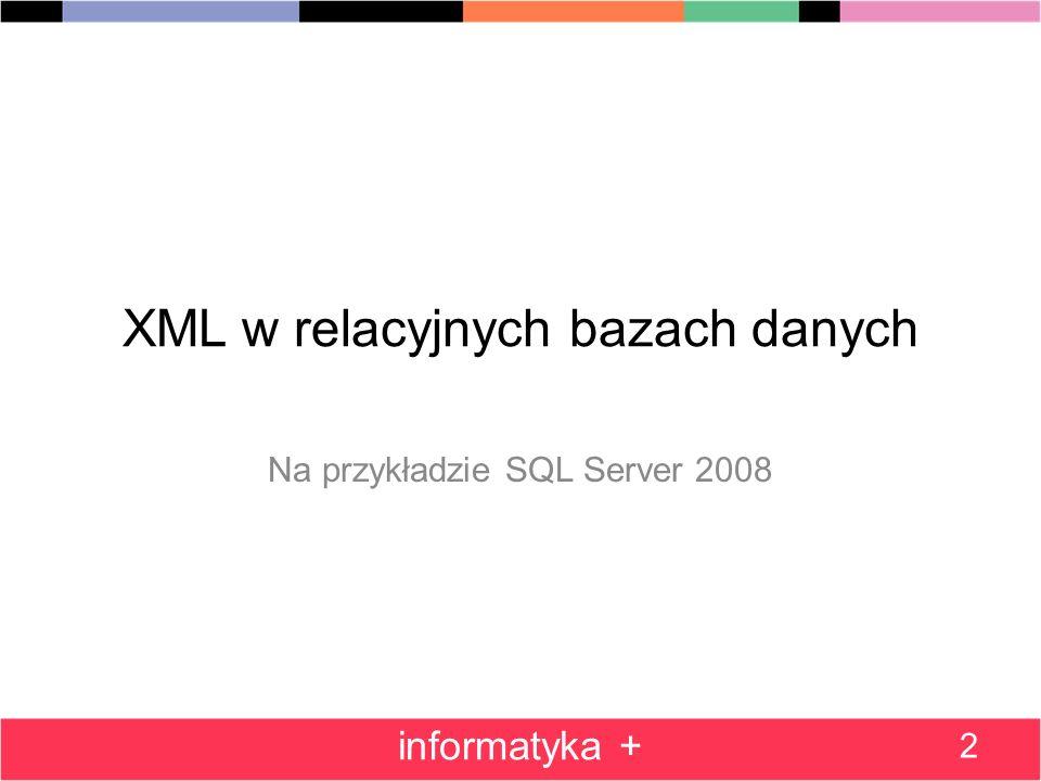XML w relacyjnych bazach danych