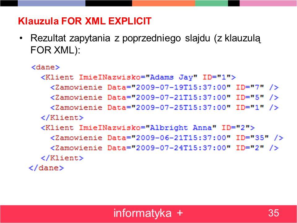 Klauzula FOR XML EXPLICIT