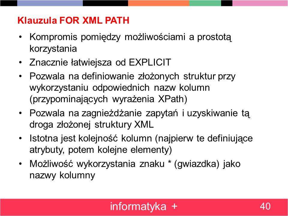 informatyka + Klauzula FOR XML PATH