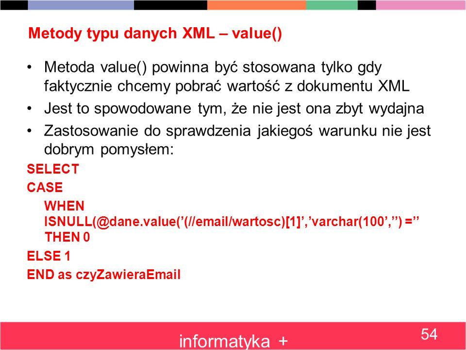Metody typu danych XML – value()