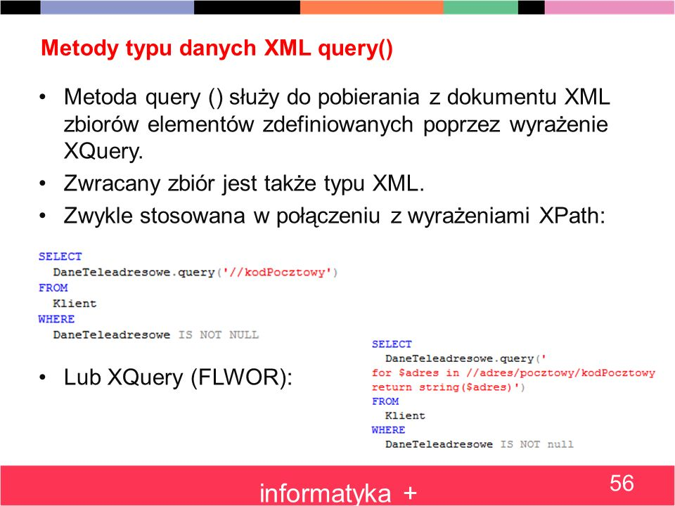 Metody typu danych XML query()