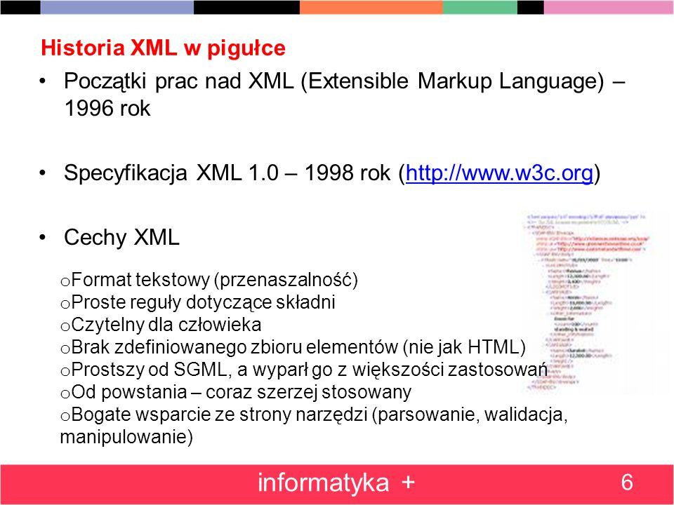 informatyka + Historia XML w pigułce