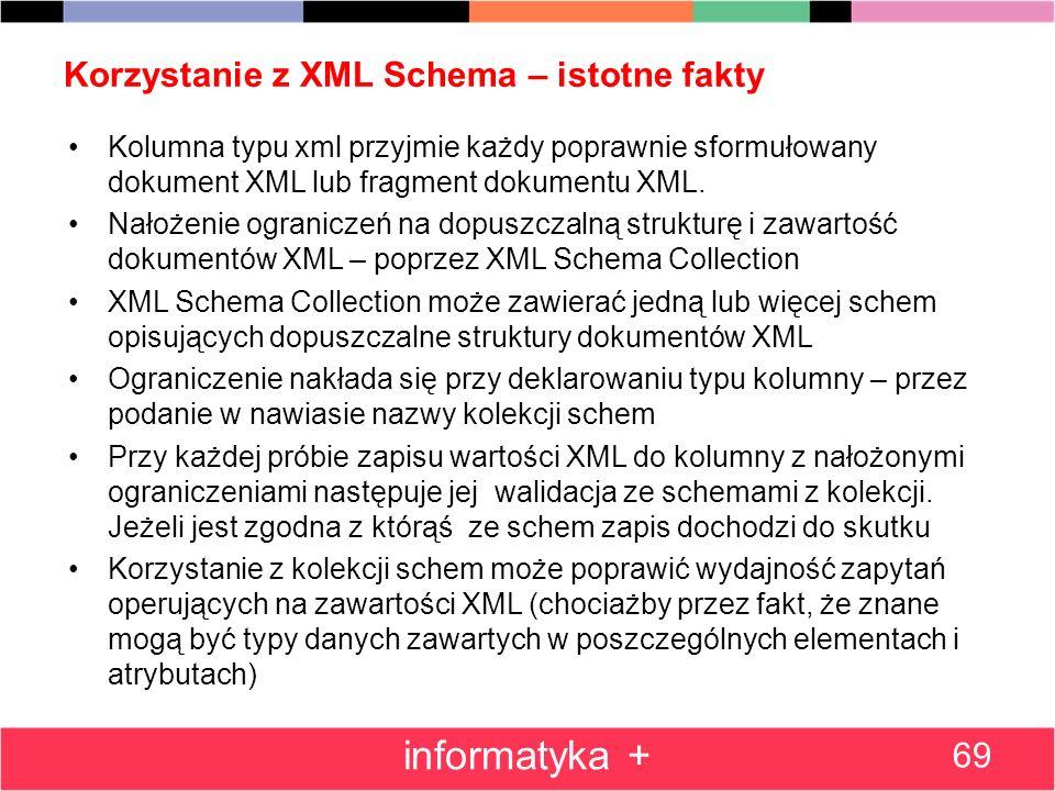 Korzystanie z XML Schema – istotne fakty