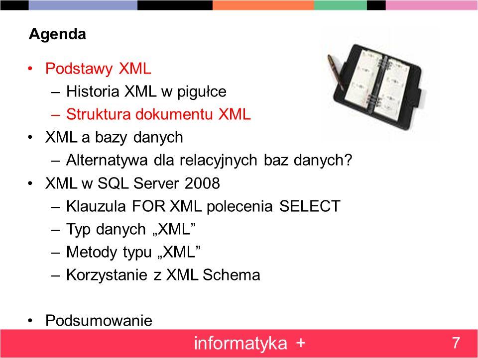 informatyka + Agenda Podstawy XML Historia XML w pigułce