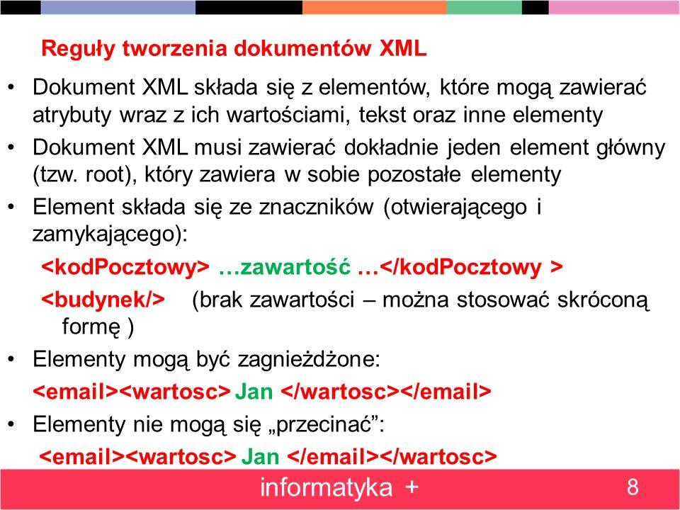 Reguły tworzenia dokumentów XML