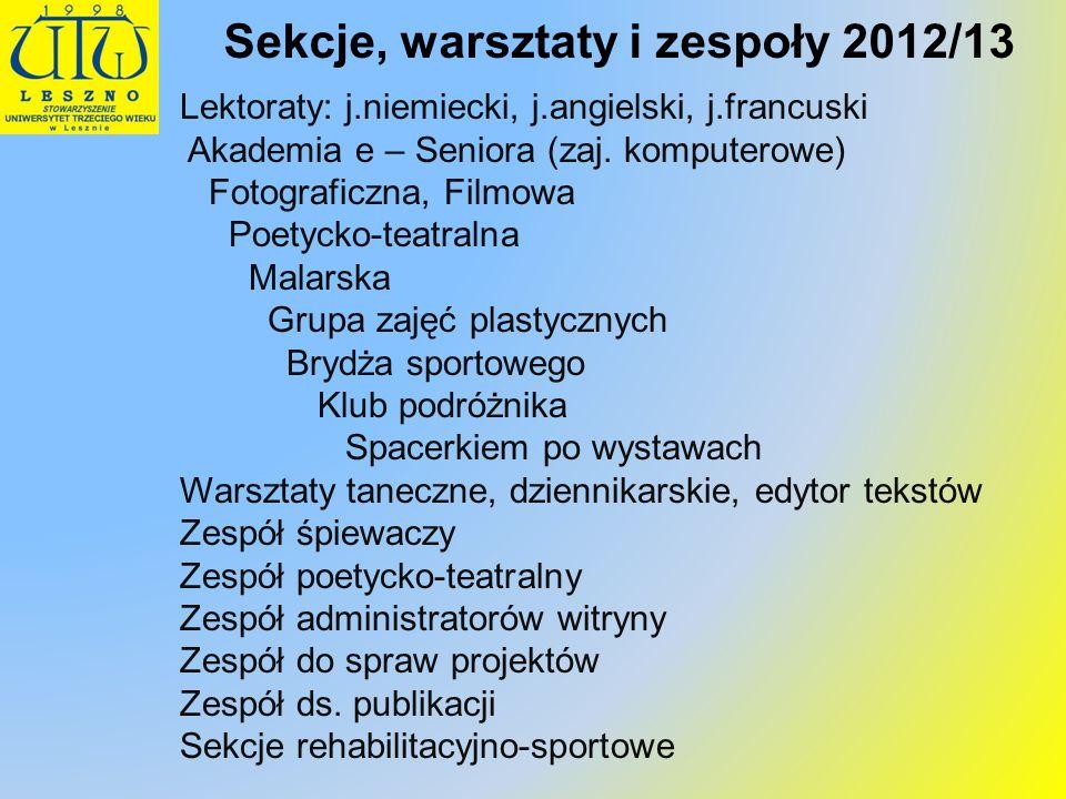 Sekcje, warsztaty i zespoły 2012/13