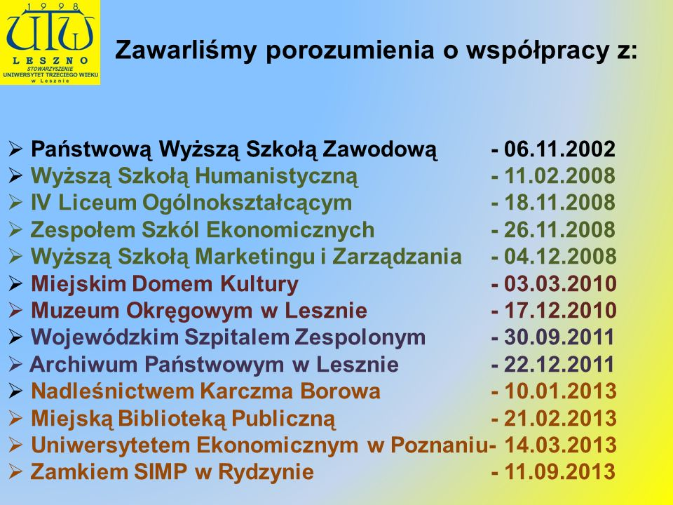 Zawarliśmy porozumienia o współpracy z: