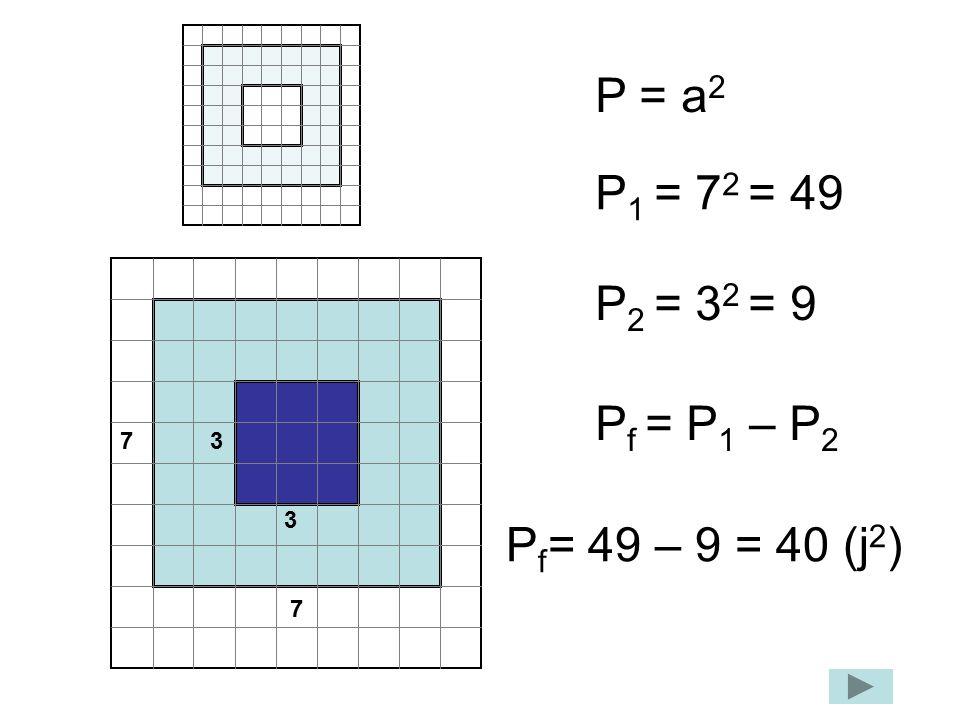 P = a2 P1 = 72 = 49 P2 = 32 = 9 Pf = P1 – P2 Pf= 49 – 9 = 40 (j2) 7 3