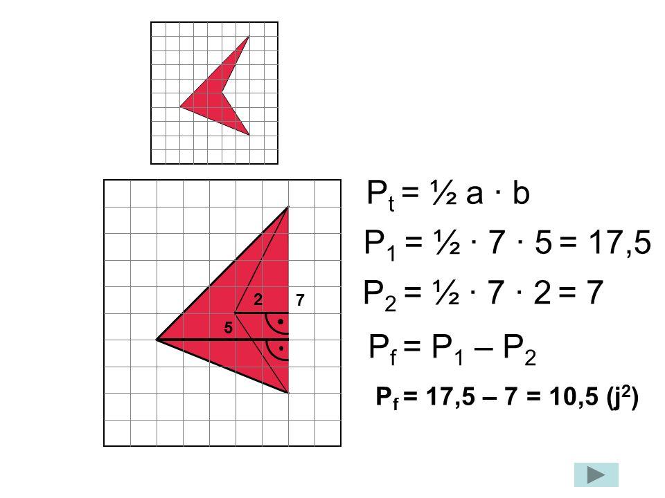 Pt = ½ a · b P1 = ½ · 7 · 5 = 17,5 P2 = ½ · 7 · 2 = 7 Pf = P1 – P2