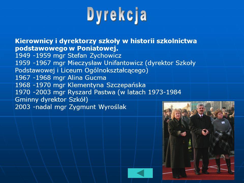 Dyrekcja Kierownicy i dyrektorzy szkoły w historii szkolnictwa podstawowego w Poniatowej.