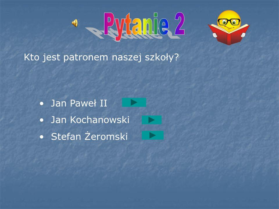Pytanie 2 Kto jest patronem naszej szkoły Jan Paweł II