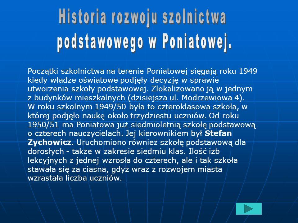 Historia rozwoju szolnictwa podstawowego w Poniatowej.