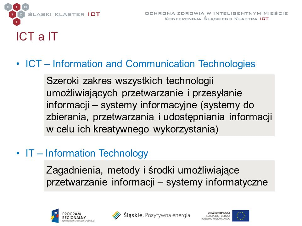 ICT a IT ICT – Information and Communication Technologies