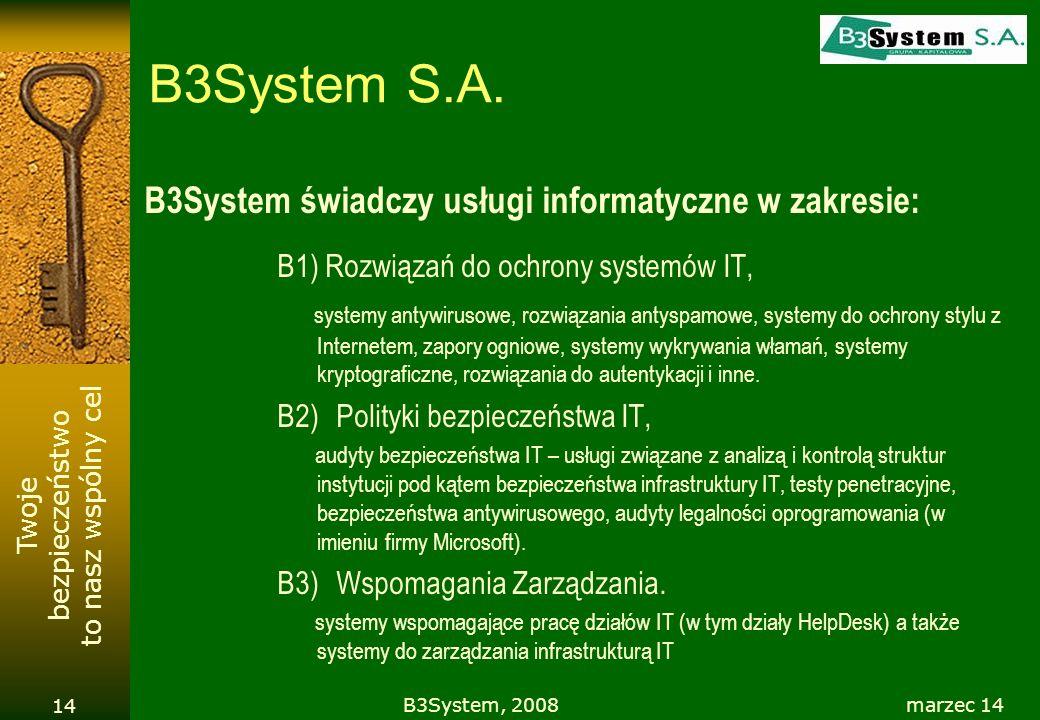 B3System S.A. B3System świadczy usługi informatyczne w zakresie: