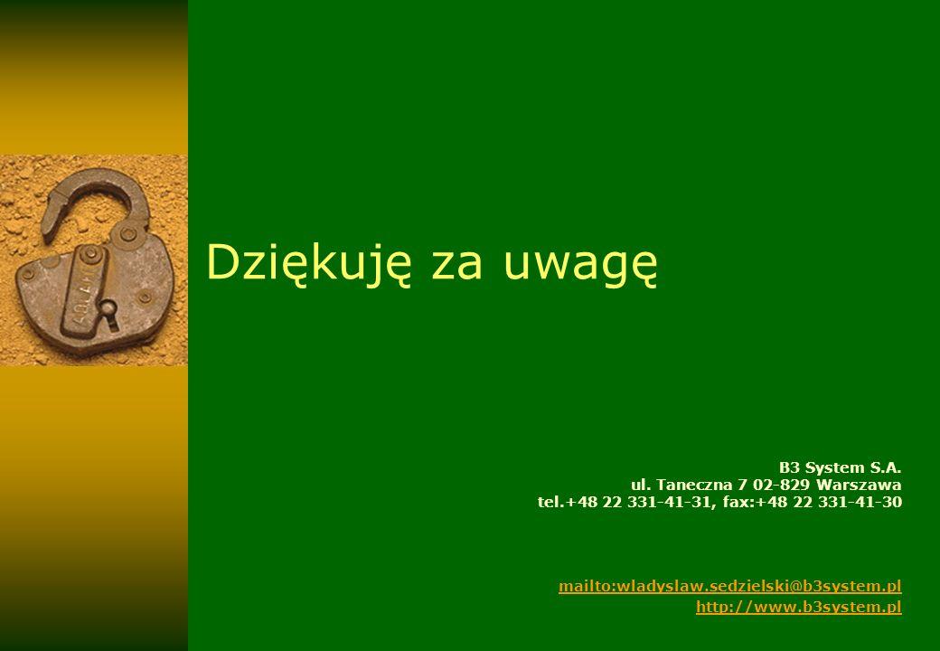 Dziękuję za uwagę B3 System S.A. ul. Taneczna 7 02-829 Warszawa tel.+48 22 331-41-31, fax:+48 22 331-41-30.