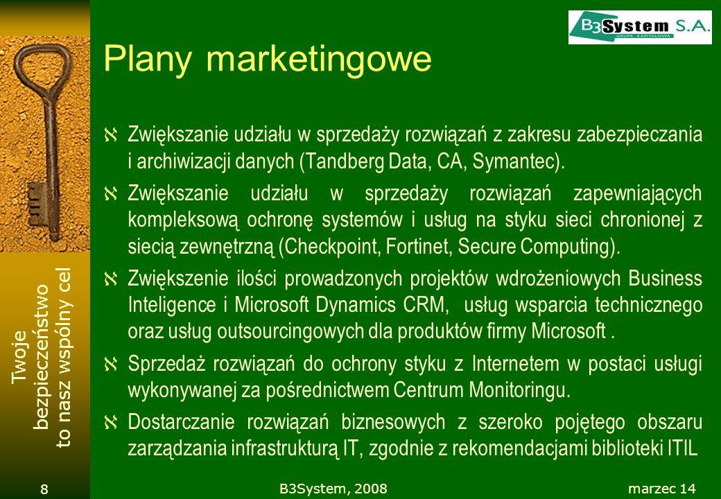 Plany marketingowe Zwiększanie udziału w sprzedaży rozwiązań z zakresu zabezpieczania i archiwizacji danych (Tandberg Data, CA, Symantec).