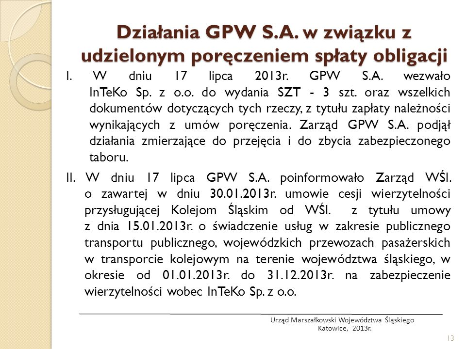 Działania GPW S.A. w związku z udzielonym poręczeniem spłaty obligacji