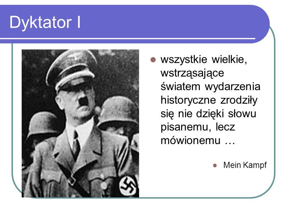Dyktator I wszystkie wielkie, wstrząsające światem wydarzenia historyczne zrodziły się nie dzięki słowu pisanemu, lecz mówionemu …
