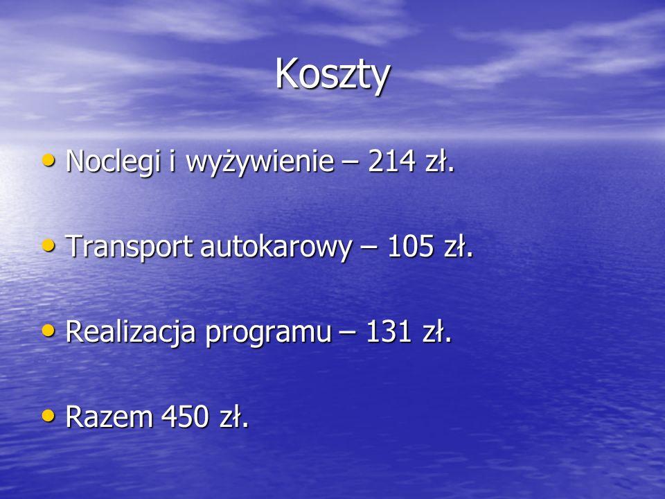 Koszty Noclegi i wyżywienie – 214 zł. Transport autokarowy – 105 zł.