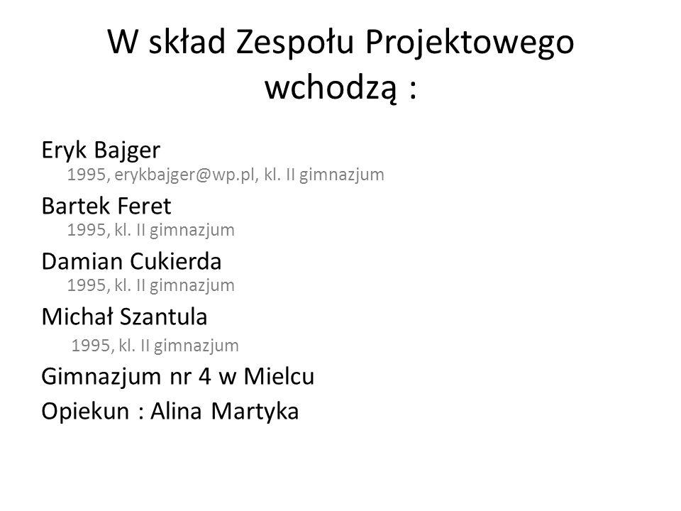 W skład Zespołu Projektowego wchodzą :