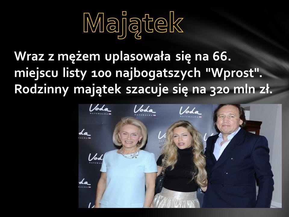 Majątek Wraz z mężem uplasowała się na 66. miejscu listy 100 najbogatszych Wprost .