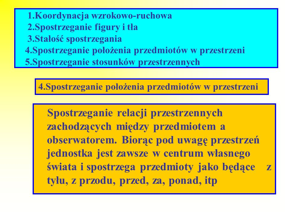 1. Koordynacja wzrokowo-ruchowa 2. Spostrzeganie figury i tła 3