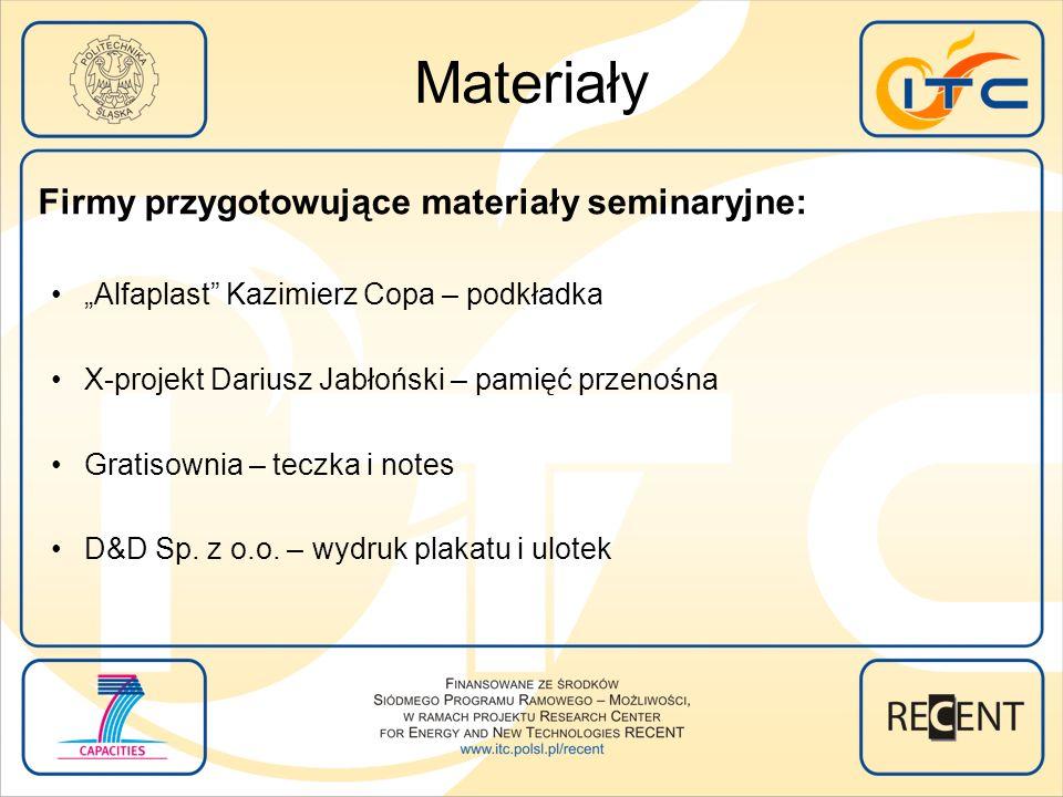 Materiały Firmy przygotowujące materiały seminaryjne: