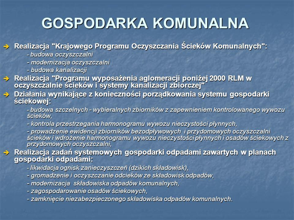 GOSPODARKA KOMUNALNA Realizacja Krajowego Programu Oczyszczania Ścieków Komunalnych : - budowa oczyszczalni.