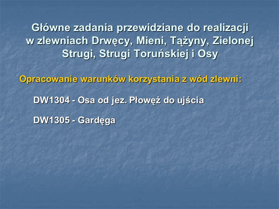 Główne zadania przewidziane do realizacji w zlewniach Drwęcy, Mieni, Tążyny, Zielonej Strugi, Strugi Toruńskiej i Osy
