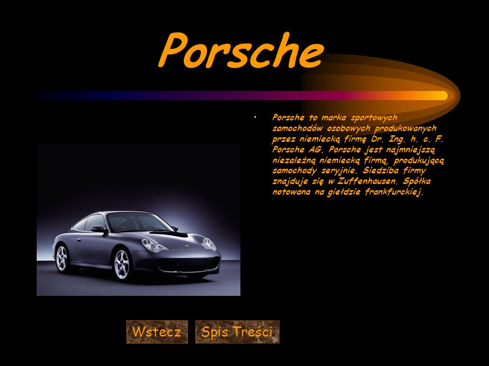 Porsche Wstecz Spis Treści