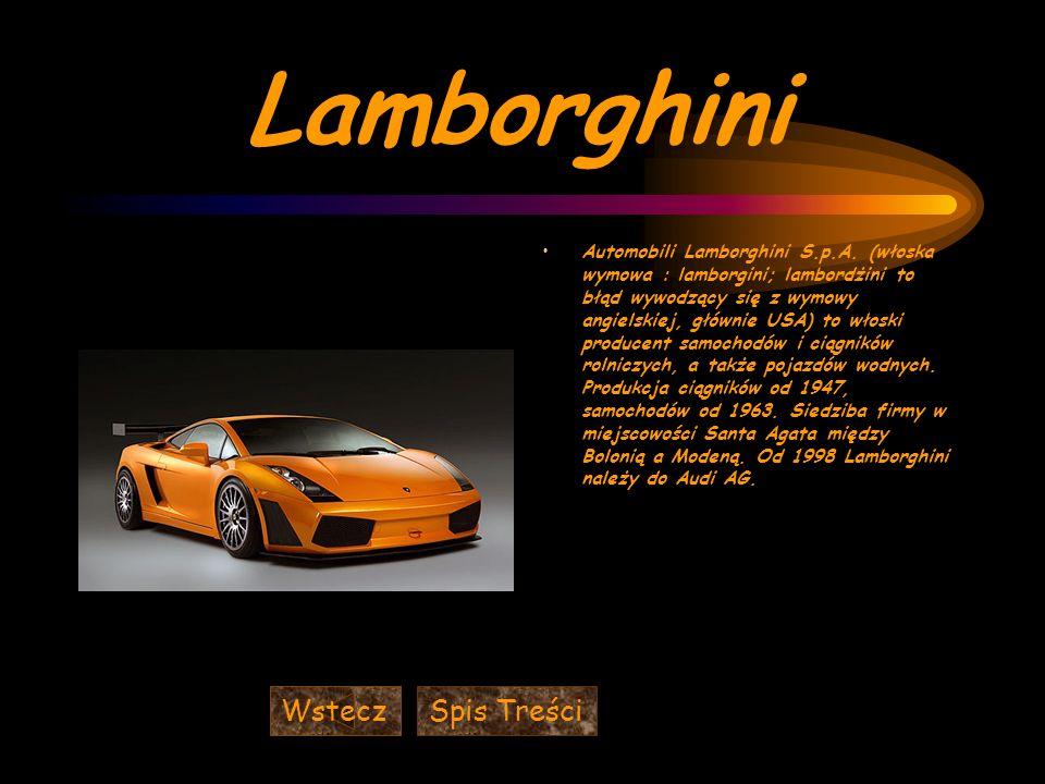Lamborghini Wstecz Spis Treści