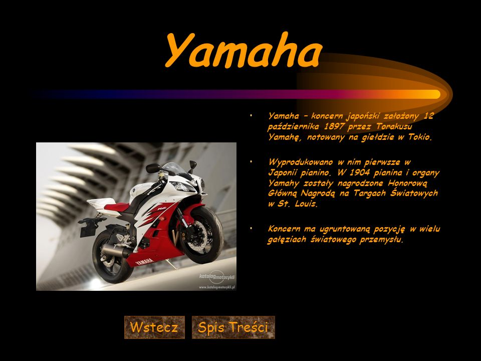 Yamaha Wstecz Spis Treści