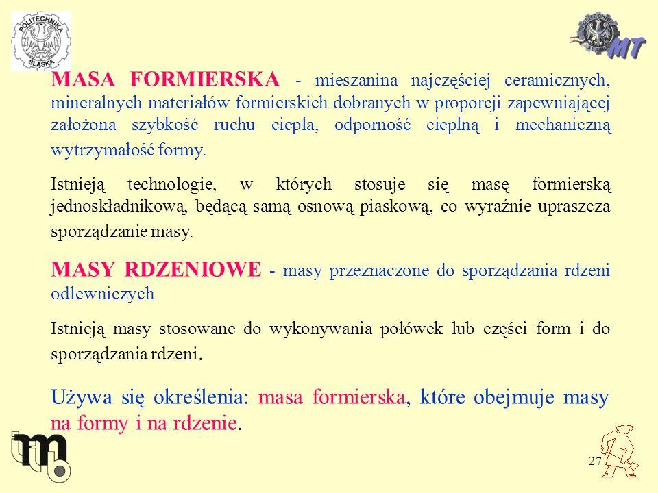 MASY RDZENIOWE - masy przeznaczone do sporządzania rdzeni odlewniczych