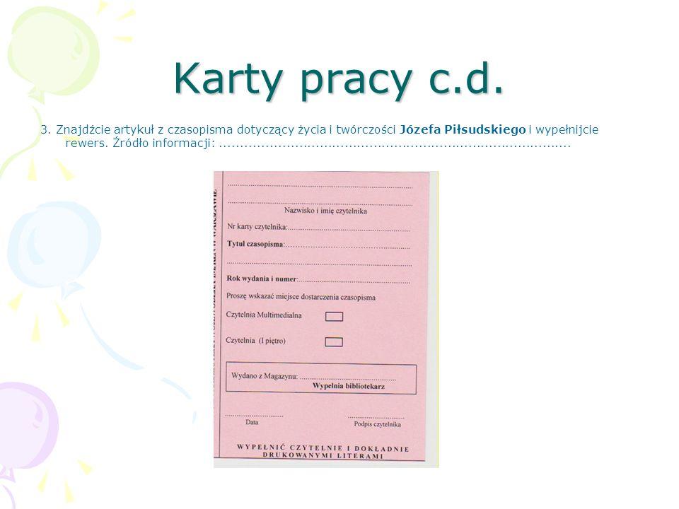 Karty pracy c.d.