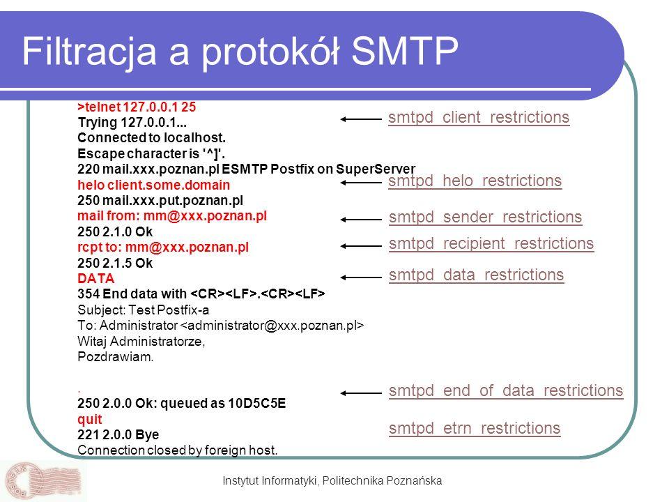 Filtracja a protokół SMTP
