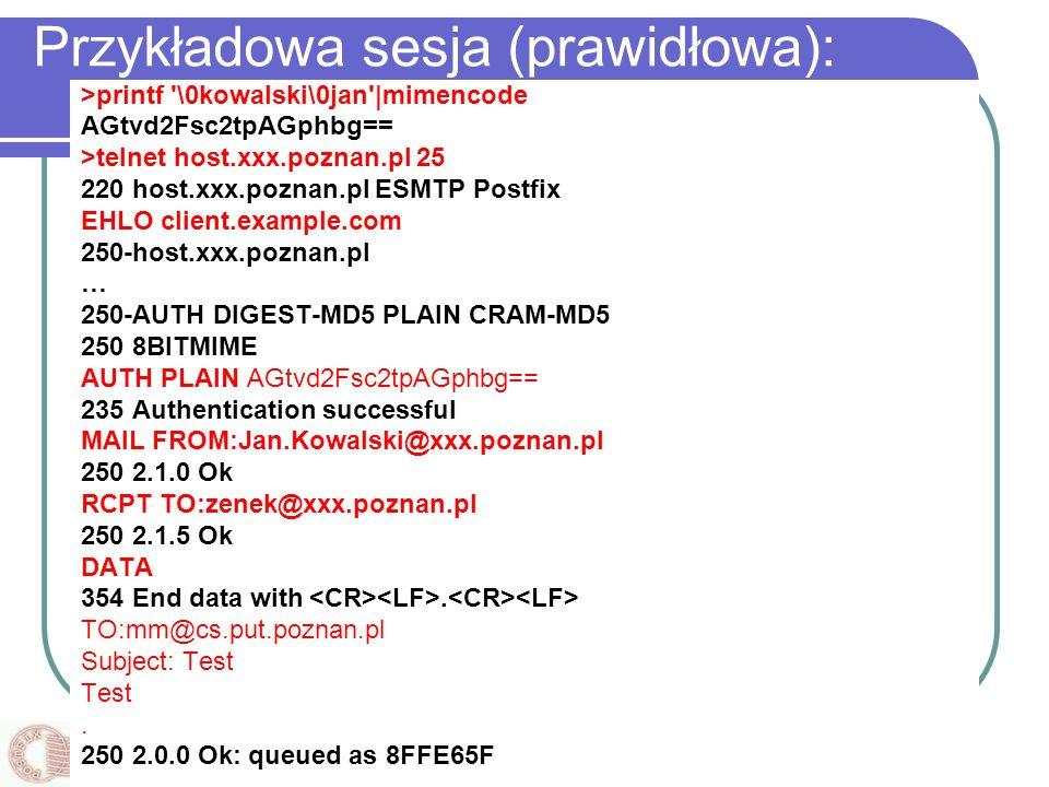 Przykładowa sesja (prawidłowa):
