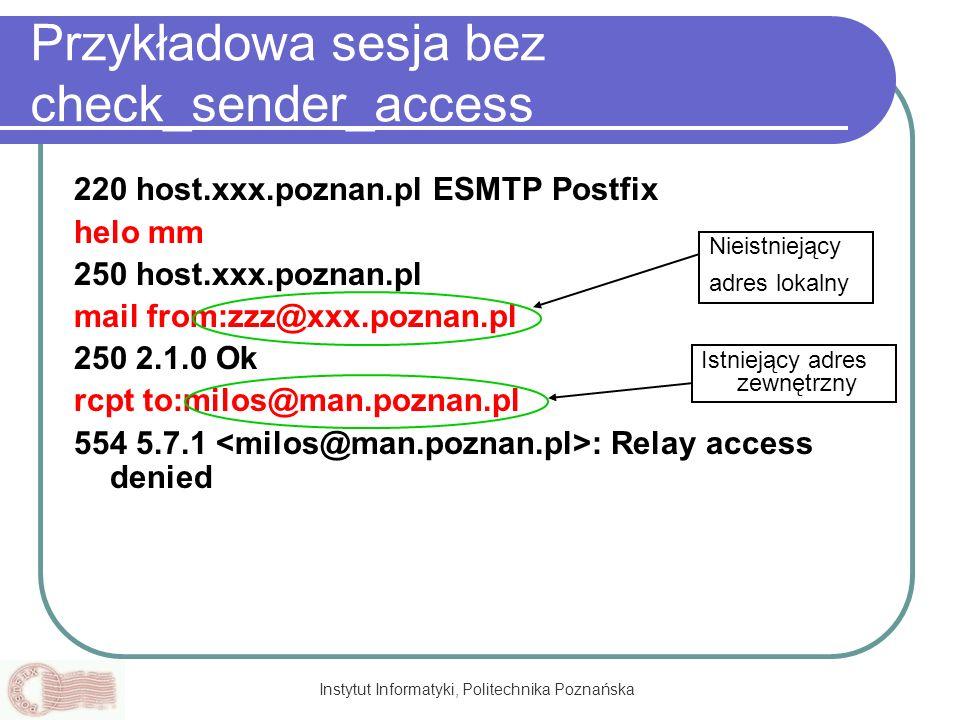 Przykładowa sesja bez check_sender_access